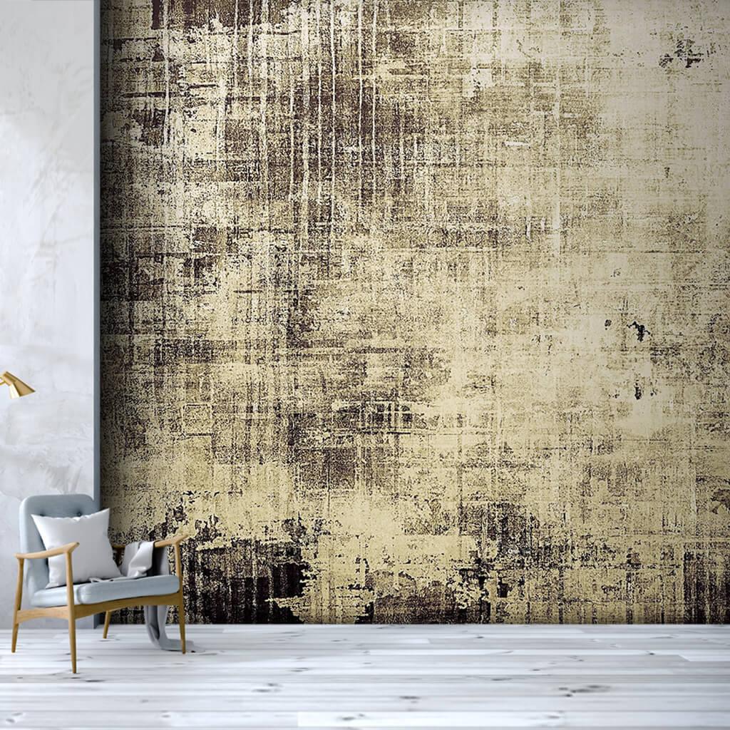 Dinamik boyama antik sarı eskitme renklerle duvar kağıdı