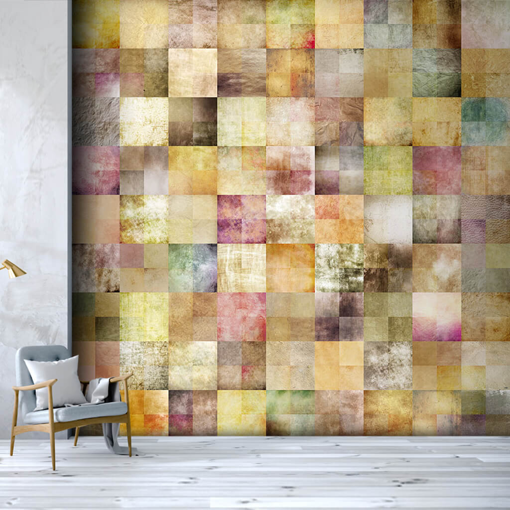 Square Patches Patchwork In Soft Colors Custom Wall Mural