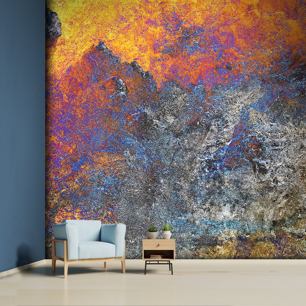 Abstract bright colors on cement texture custom wall mural