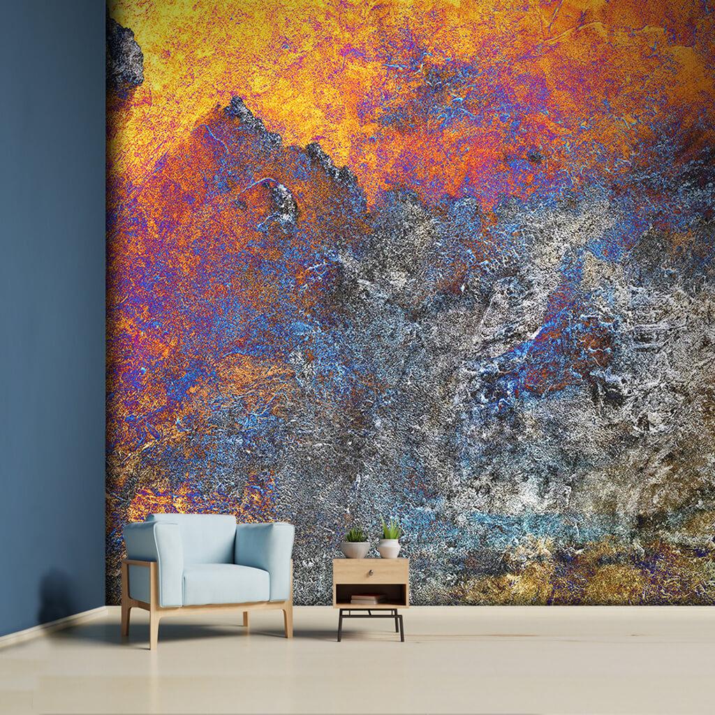 Çimento doku üzerine soyut parlak renkler duvar kağıdı