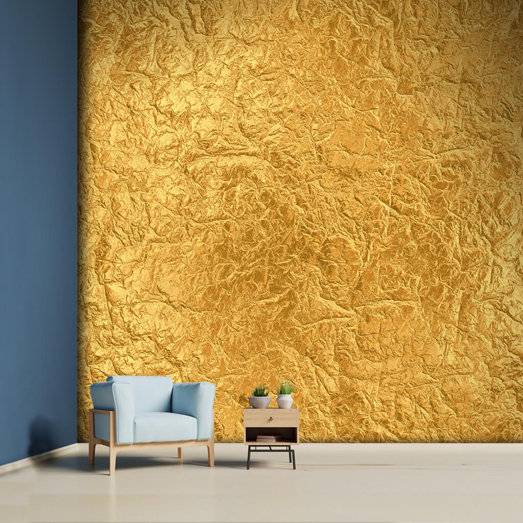 Altın yaprak sarı metal dokulu duvar kağıdı