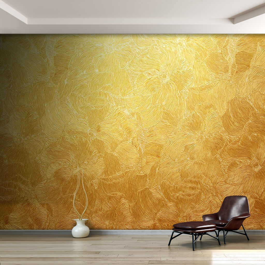 Dinamik sıvama altın yaprak dokulu duvar kağıdı