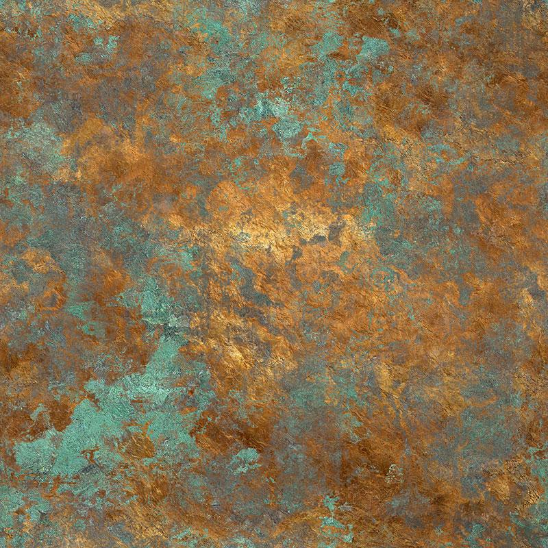 Metallic Tumbled Bronze Pattern On Green Custom Wall Mural
