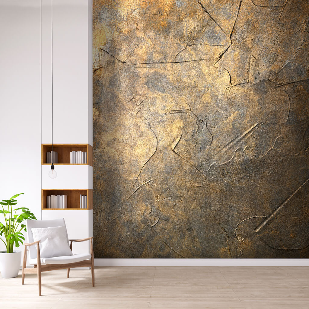 Antique metal textured scalable custom wall mural