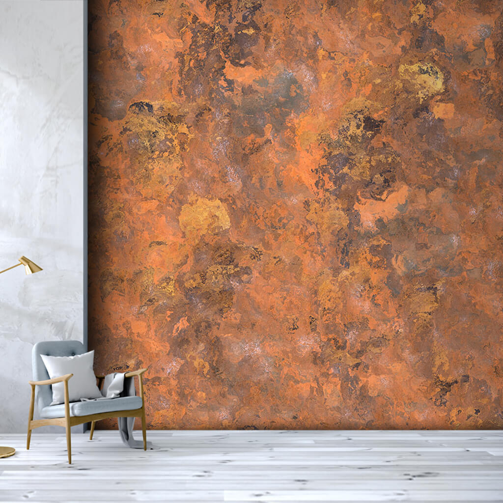 Eskitme bakır renk tonlarında grunge duvar kağıdı