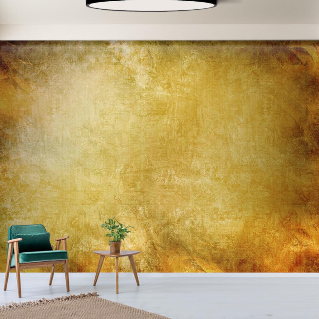 Eskitme altın sarısı renklerle vintage duvar kağıdı