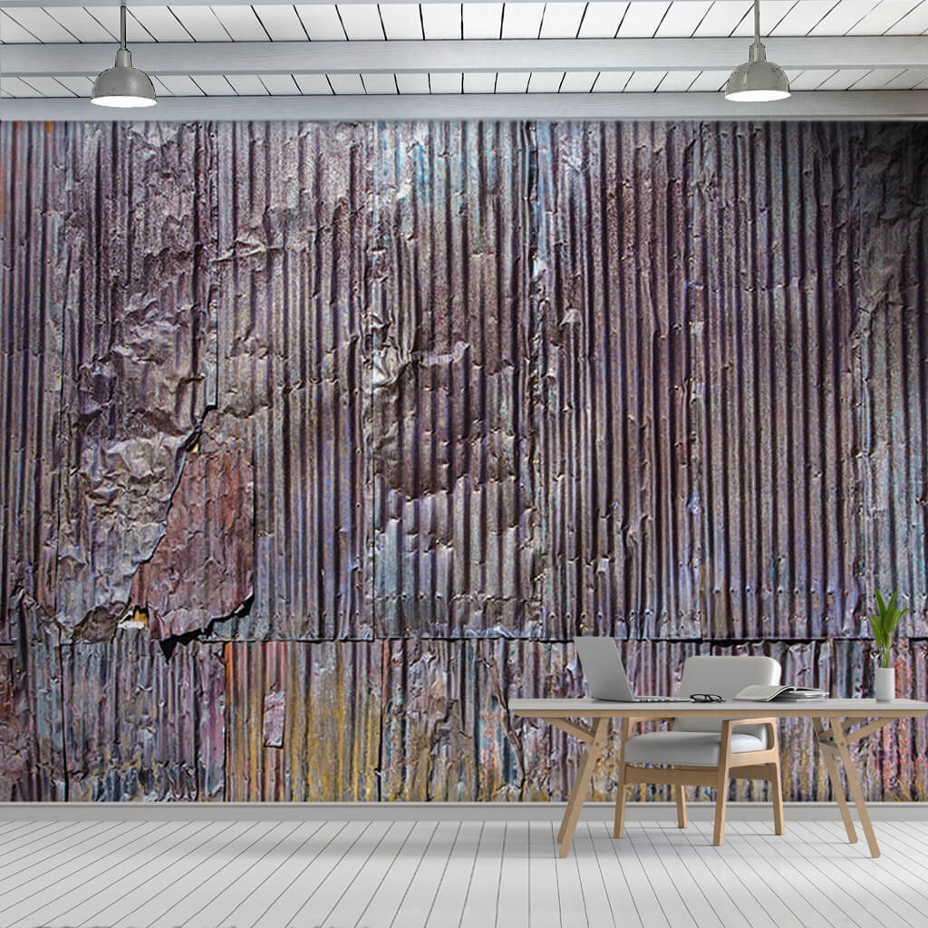 Corrugated metal sheet roof ondulin section wall mural