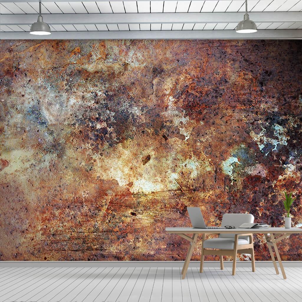 3D burnt rusty metal colored pattern custom wall mural