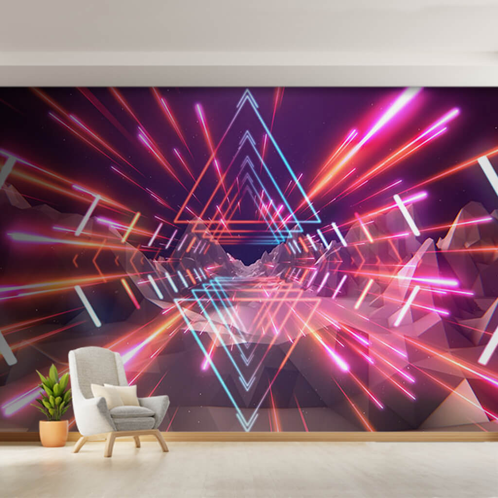 Pink triangular neon disco lights 80's custom wall mural