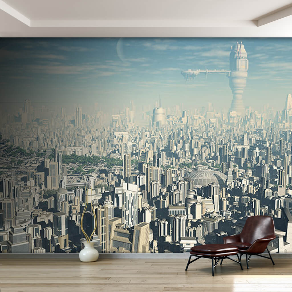 Future city concept science fiction futuristic wall mural