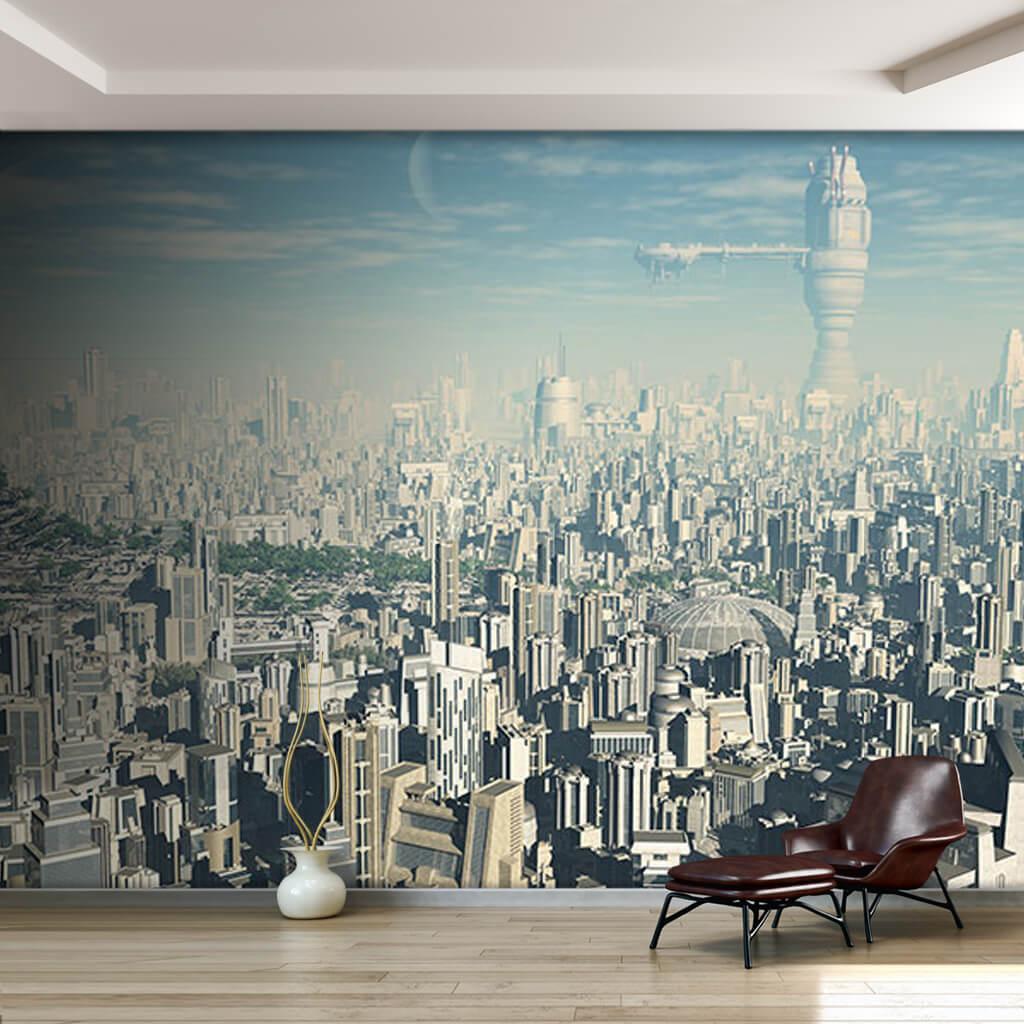Gelecekte şehir konsepti bilim kurgu futuristik duvar kağıdı