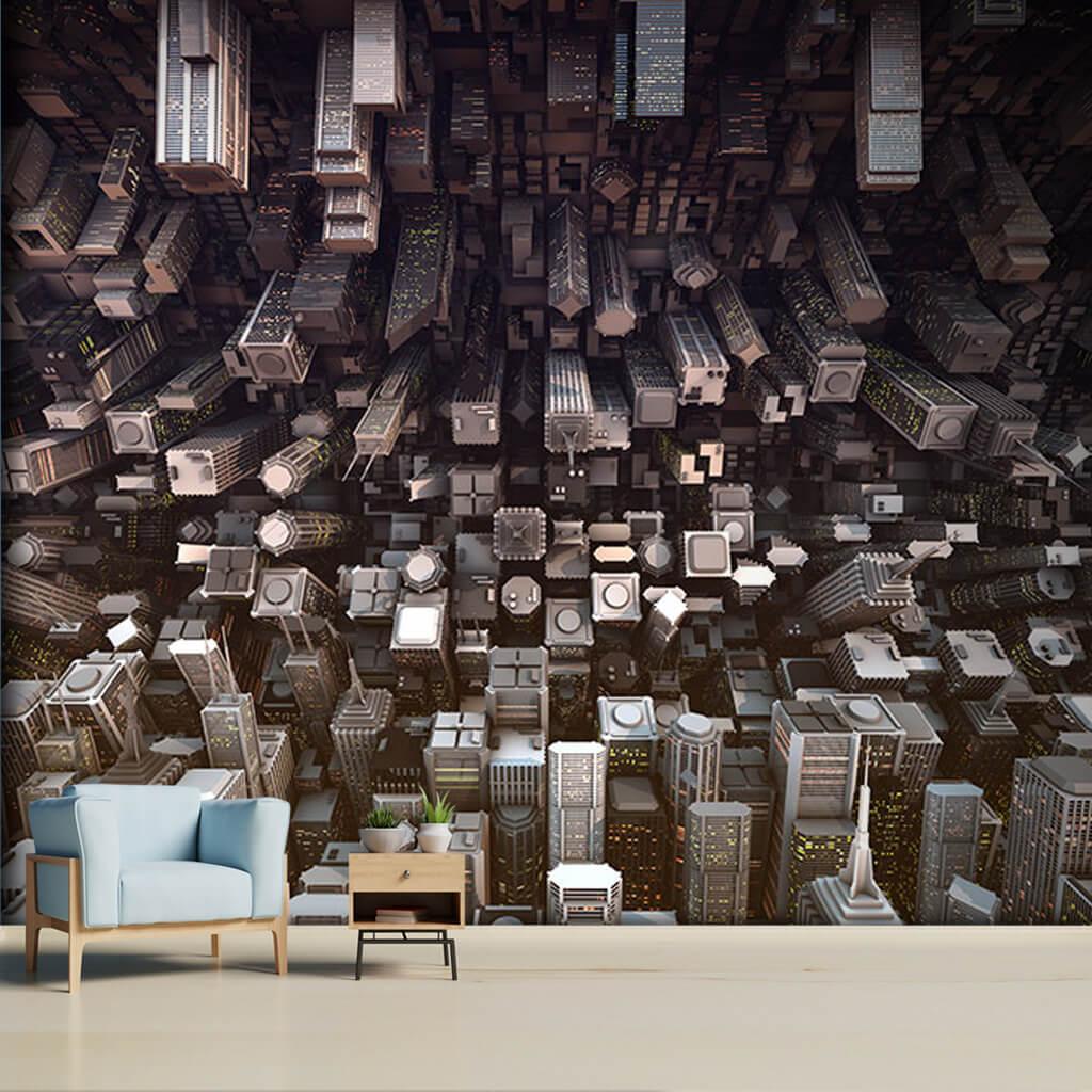 Inception temalı şehir temalı futuristik 3D duvar kağıdı