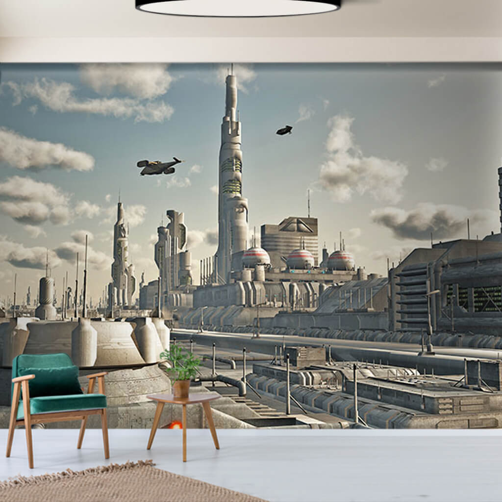 Gelecekte şehirler ve uçan arabalar futuristik duvar kağıdı