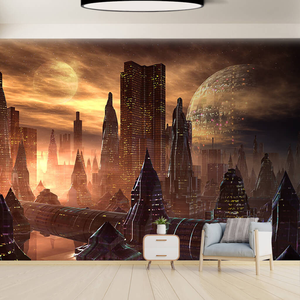Fantasy of space cities on Mars futuristic wall mural