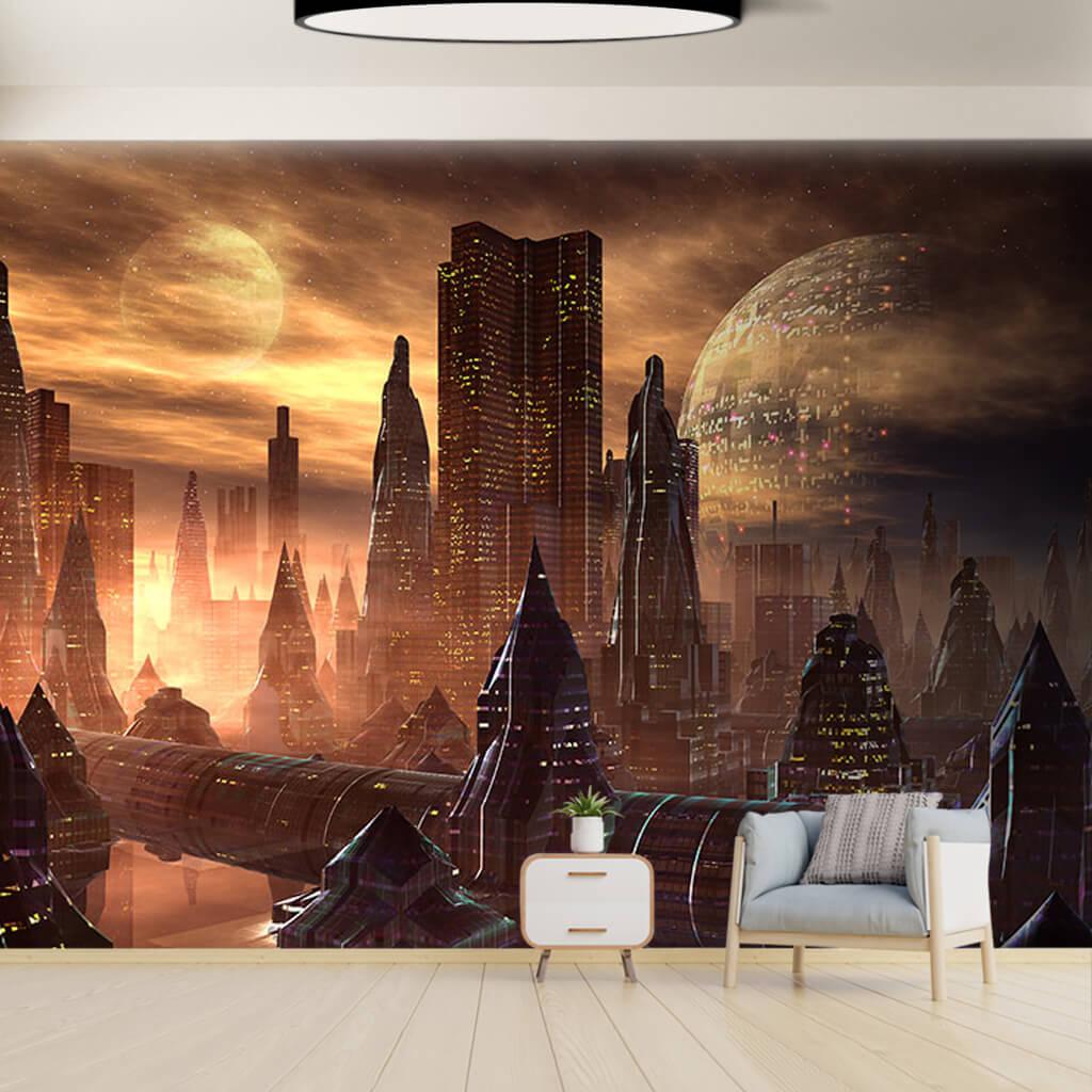 Mars'ta uzay şehirleri fantezisi futuristik duvar kağıdı