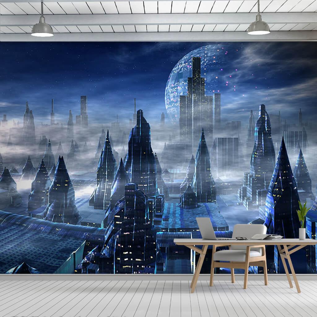 Uzayda gece ve metropol şehri bilim kurgu duvar kağıdı