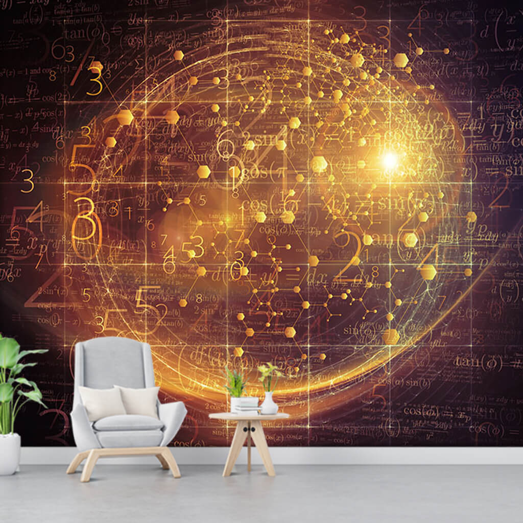 Gold Globe of time and formulas futuristic wall mural