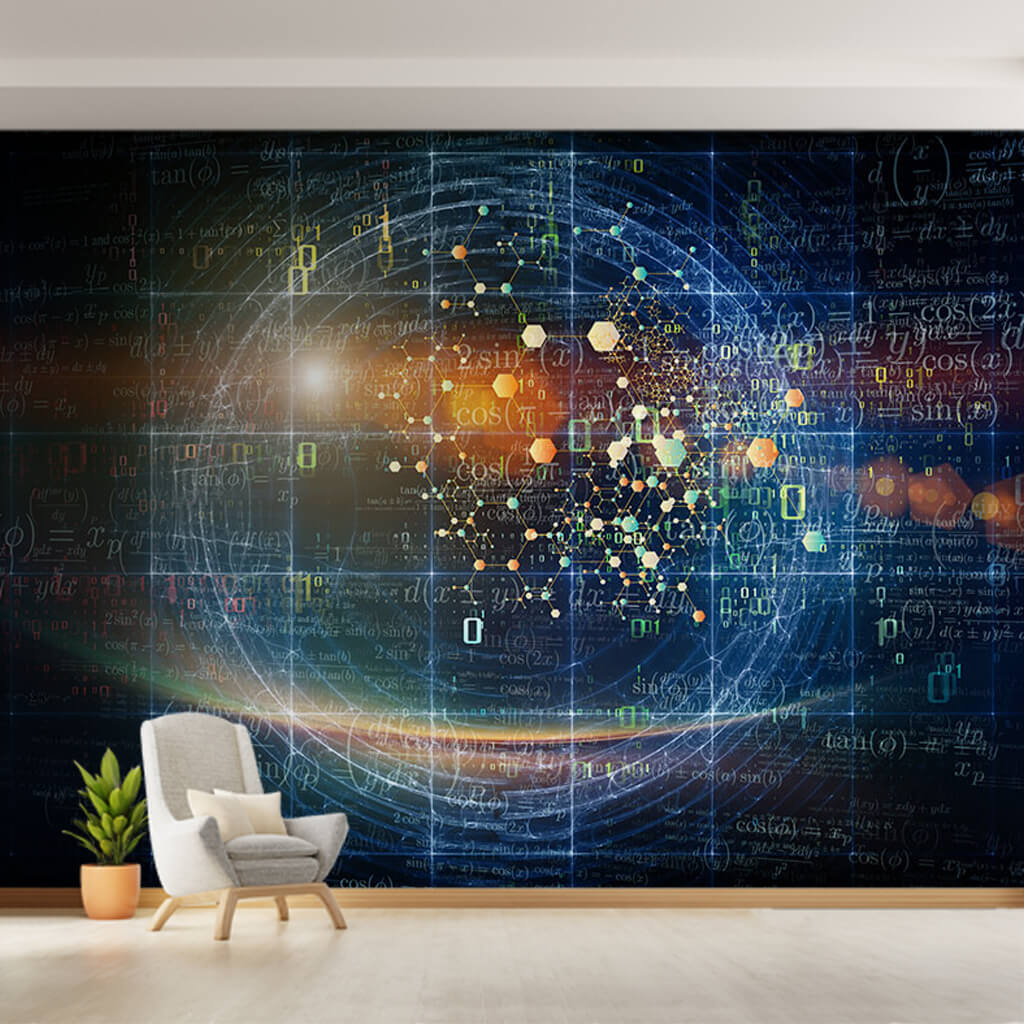 Sphere of formulas and calculations in space wall mural