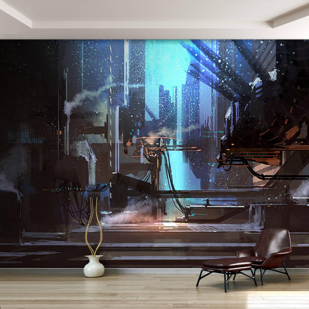 Gece karanlığında uzay kolonisi futuristik duvar kağıdı