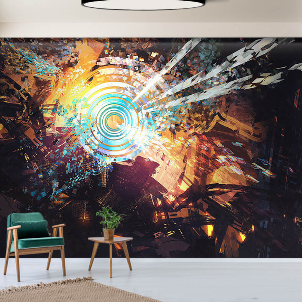 Technology and chaos abstract illustration custom wall mural