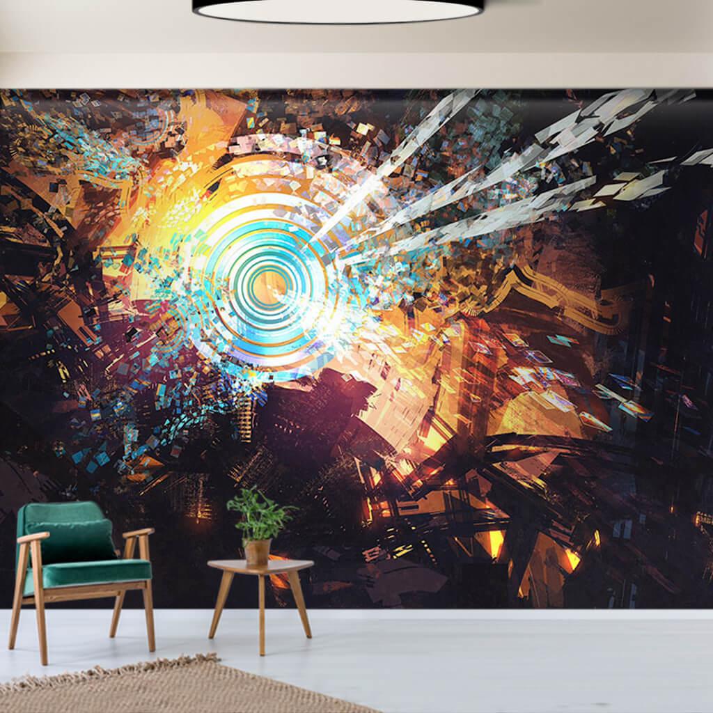 Teknoloji ve kaos soyut resim futuristik duvar kağıdı