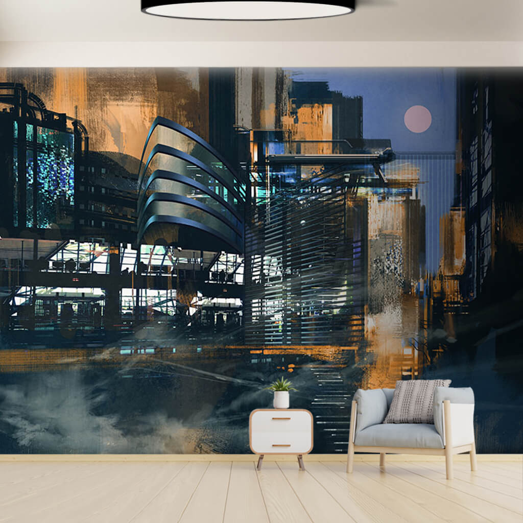 City and architecture illustration custom wall mural