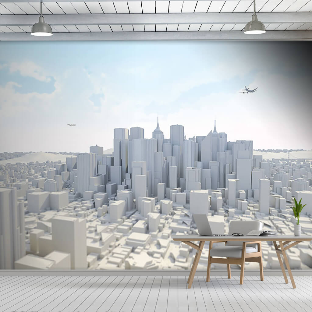 3D city model architectural modeling futuristic wall mural