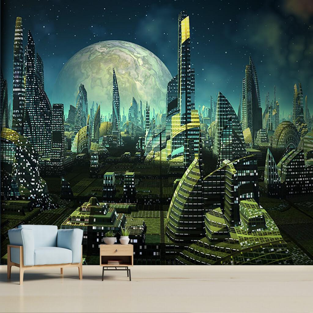Dolunay yıldızlar ve uzay şehri futuristik duvar kağıdı